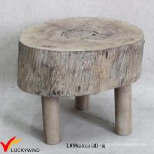 Petite teinture ronde Chic Foot Rest Tabouret de bois naturel