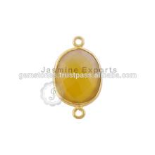 Conector De Beira Verde Calcedônia Amarela, Venda Por Atacado Conjunto De Conjuntos De Pedra Preciosa Bezel Fabricante