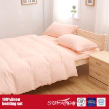 Roupa de cama de linho lavada folhas conjunto de cama de roupa de cama de linho