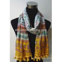 Bufanda de algodón con flecos