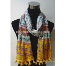 Цветочный принт Хлопковый шарф с окантовкой