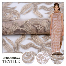 New arrival polyester embroidered flower pattern fabric for wedding