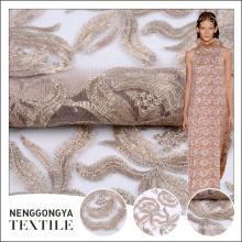 Nova chegada tecido de poliéster bordado padrão de flor para o casamento