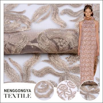 Nouvelle arrivée polyester brodé motif de fleurs pour le mariage