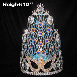 10in Crystal Rhinestone Mask Peacock Pageant Crowns
