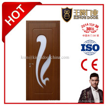 Interior MDF Wooden PVC Door with Glass Diamond