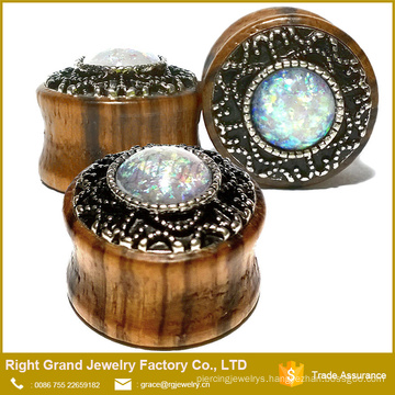 Organic Wood Ear Plugs with Synthetic White Opal Jewelled Saddle Fit Ear Gauges