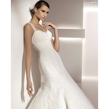 Elegant Trumpet Mermaid Sweetheart Straps Sapu Brush Train Lace Tulle Wedding Dress