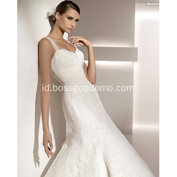 Elegan Trumpet Mermaid Sayang Straps Sapu Sikat Kereta Lace Tulle Wedding Dress