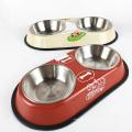 Bacia dupla do alimentador do cão de estimação do aço inoxidável do não-patim 12inch