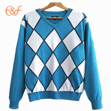 V Neck Mens  Intarsia Argyle Sweater Knitting Pattern