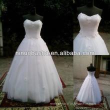 NW-479 vestido de bola de contas de flores com molho de casamento de amostra real 2014