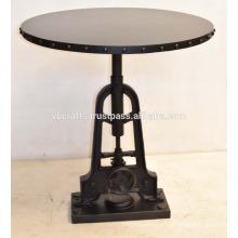 Industrial de manivela mesa de comedor de metal redondo remache Top