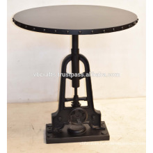 Industrial Crank Dining Table Round Metal Rivet Top