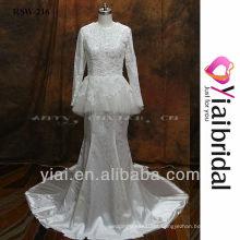 RSW216 vestido de casamento muçulmano de manga longa