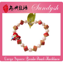 Fancy Childrens Schmuck Chunky Square Perlen Große Perlenkette für Kinder
