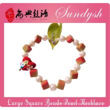 Extravagante Childrens Jewellery Chunky Square Beads Grande Colar De Pérolas Para Crianças