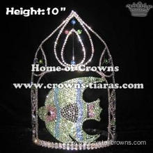 10in Big Tall Fish Shape Crystal Rhinestone Pageant Crowns