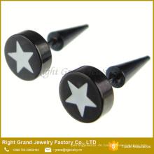 Kundengebundener Edelstahl-schwarzer Stahlstern-Epoxid-gefälschter Stecker-Ohrring