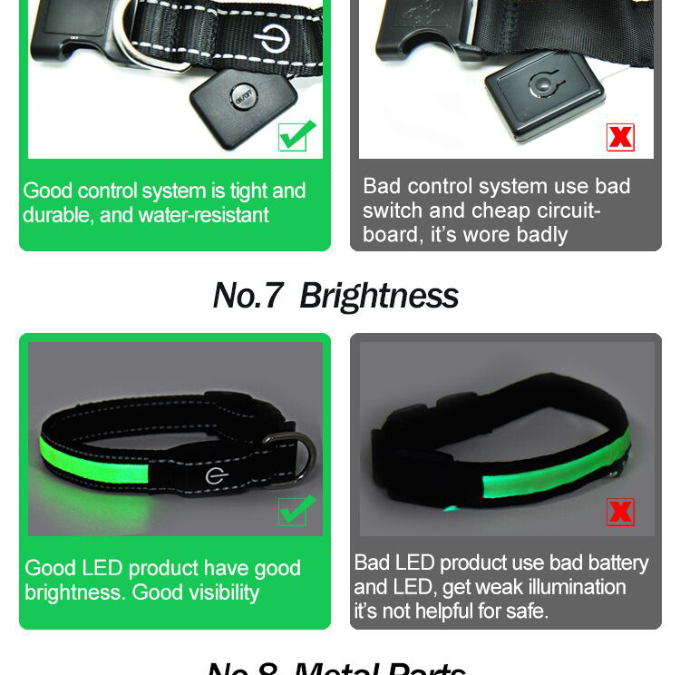 Leather Led Flashing Dog Collar
