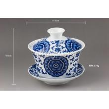 """Lucky Vine Flower"" Fine Porcelain Gaiwan Set"