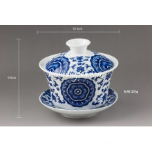 """Lucky Vine Flower"" Fine Porcelain Gaiwan Set"