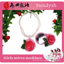 Fancy Young Girls Jewellery Hermoso Rose Flower Mirror Necklace