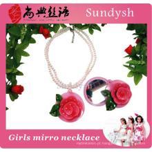Fantasia jovem meninas jóia linda flor rosa espelho colar