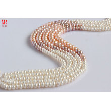 7-8-9mm Fashion Mixed Color Freshwater Pearl Strand Necklace (ES148-7)