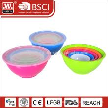 5pcs almacenado alimentos y almacenaje vegetal plástico ensalada bol con tapa y manija
