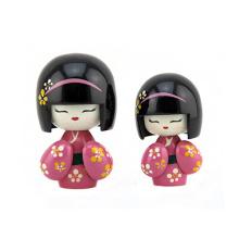 vente chaude nouvelle conception bois japon soeur poupée pour la décoration