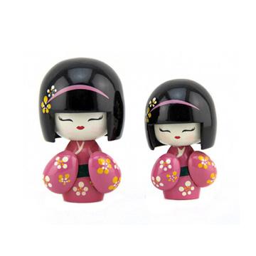 Venda quente novo design de madeira japão irmã boneca para decoração