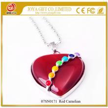 Семь чакр драгоценный камень красного сердолика сердца кулон ожерелье