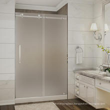 Guangdong 10mm 12mm clear acid etched tempered glass for shower doors with CE certificate