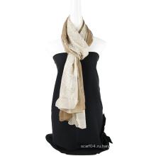 Двухцветный шелковый шарф с эмблемой цвета сплошной цвет с блестками