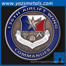 customize metal coin, 136th Airlift Wing commander's coin