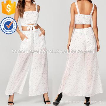 Zip Back Crop Top And Sheer Pants Set Manufacture Wholesale Fashion Women Apparel (TA4028SS)