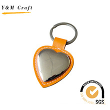 Metal and Leather Tag keychain with Steaching (Y02099)