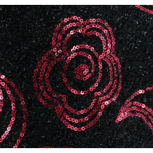Black Red Sequin Fabric Wholesale