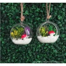 MIni plante artificielle de fleurs succulentes avec pot de verre