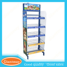 Single side Foot Standing potato chip & snack Display Rack