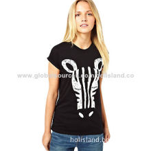 Summer New O-Neck White and Black Horse Printed Short Sleeve T-Shirt