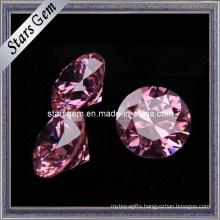 Diamond Cut Round Shape Pink CZ Stone