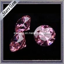 Diamante corte forma redonda rosa cz pedra