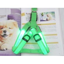 Green pet collar making supplies led dog harness