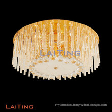 Luxury Gold Low Ceiling Crystal Chandelier for Bedroom