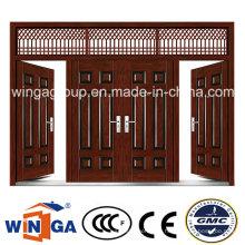 4 Puerta de puerta exterior de color marrón Metal Puerta de acero de seguridad (W-SD-06)