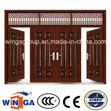 4 Doorleaf Outside Brown Color Security Metal Steel Door (W-SD-06)