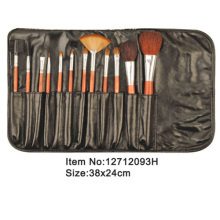 12pcs orange plastic handle animal/nylon hair makeup brush tool set with black satin case