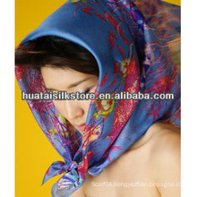 100% silk designer brand blue marine multi scarf headwear